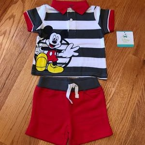 NEW Mickey Mouse Polo Shirt & Shorts Set