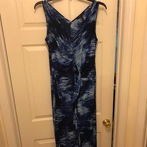 BCBG Long Tye Dye Dress With Slit. EUC. Size L.