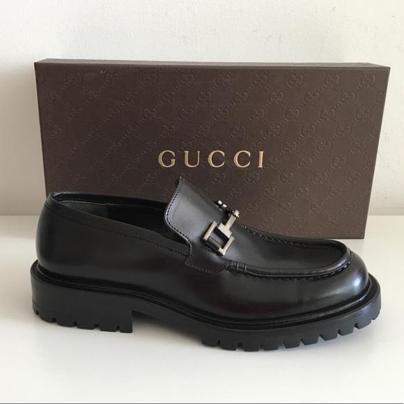 377f3f9772c Gucci Shoes - GUCCI BLACK LUG SOLE HORSEBIT LOAFERS