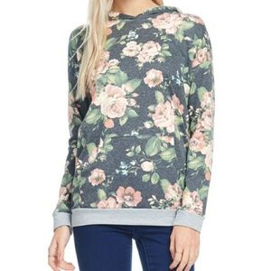 Tops - Soft floral hooded sweatshirts