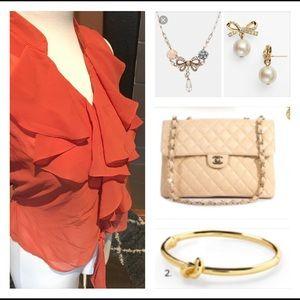 Pumpkin orange sheer blouse
