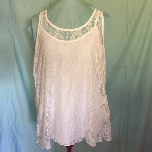 White Lace Blouse with Attached Camesole