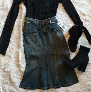 Vintage Mermaid Denim Skirt