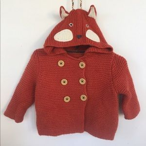 EUC- Baby Boden foxy knitted jacket 🦊