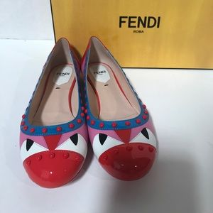 Fendi Monster big Leather Ballets Flats.