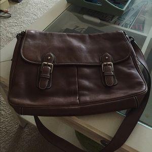 Adrienne Vittadini large leather messenger bag
