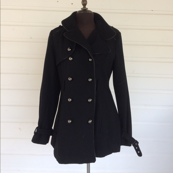 Miss Sixty - Miss Sixty M60 Black Military Style Wool Coat from ...