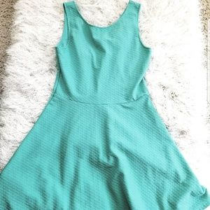 H&M Solid Skater Fit & Flare Summer Teal Dress