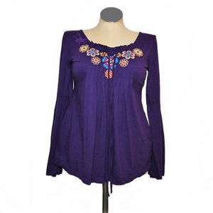JWLA Bell Sleeve Floral Embroidered Cotton Tunic