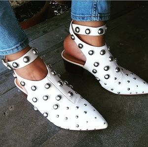 🆕//The Dolly// White studded buckled booties