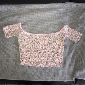 American apparel xs pink floral crop top