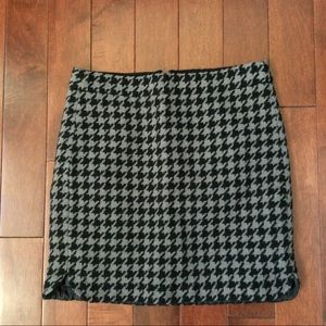 J.Crew Black and Grey Houndstooth Mini Skirt, 00