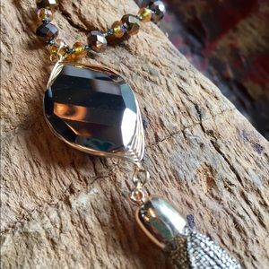Jewelry - Mixed bead necklace w/ bronze stone pendant/tassel