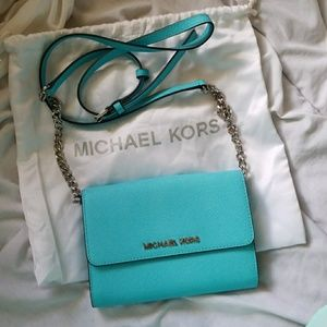 New with tags Michael Kors aquamarine cross-body