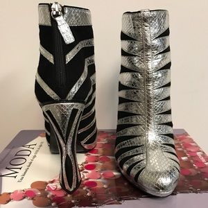 RODARTE Black/Silver Booties