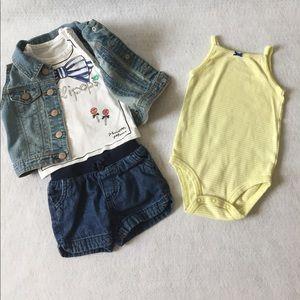 4 piece outfit shorts onesie shirt vest 18M