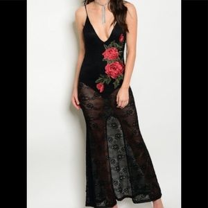Black Rose Patch Lace Bodysuit Dress