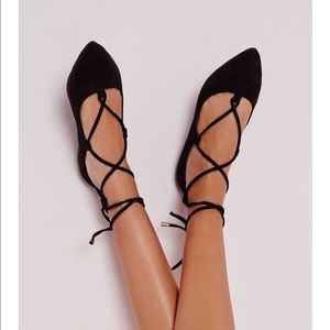 H & M black tie up flats