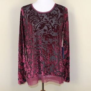 Maroon Burnout and Sheer Tunic by Simply Vera Sz L