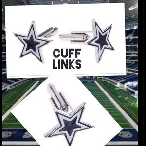 Star shaped cuff links navy Football cowboys space