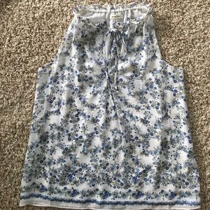 Max Studio white and blue floral sleeveless top XS