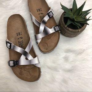 BIRKENSTOCKS White Black Ombre Strappy Sandals