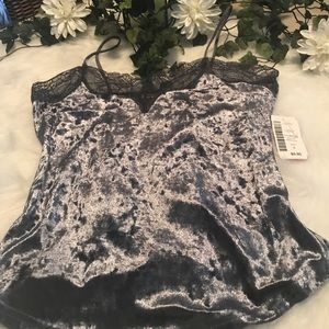 Super soft velvet and lace cami