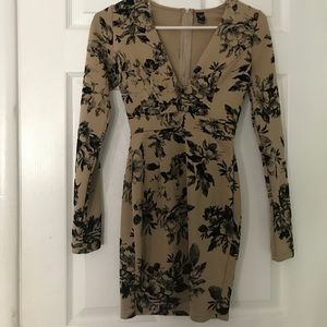Brown and black floral dress