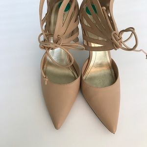 BCBGeneration Tan Pointy Toe Pumps!