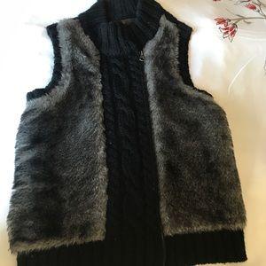 Double zipper knitted fur vest