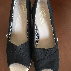 TOMS Black Canvas Open Toe Wedge SHOES size 6.5W