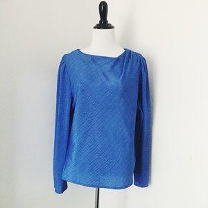 Tops - 🆕Vintage Silk Royal Blue Blouse