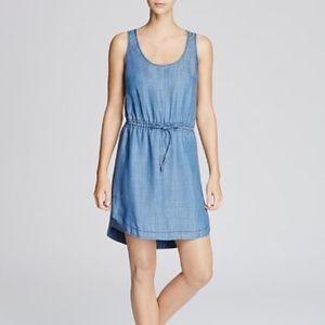 Bloomingdales Aqua Drawstring Waist Chambray Dress
