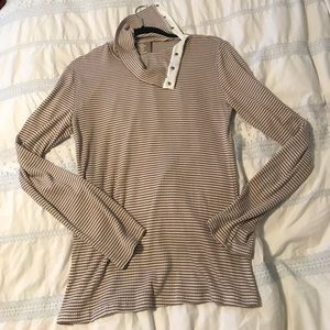 Long sleeve striped taupe and white anthro