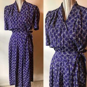 Purple floral wrap dress