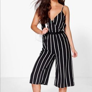 NWT ASOS Black and White Striped Culotte Jumpsuit