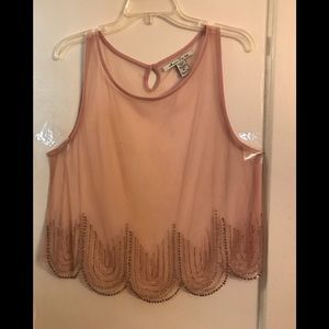 Rine stone and beaded sheer tank top mauve color
