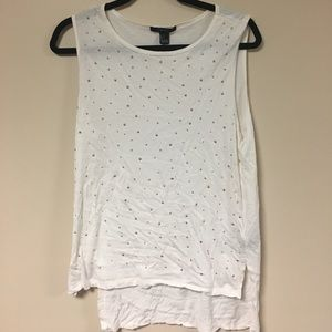 Bedazzled White & Gold Tank