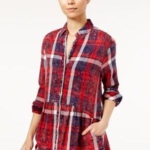 Free People red plaid shirt