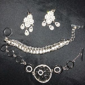 Diamond silver earrings/bracelets