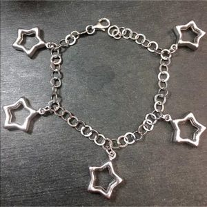 3RoyalDazzy.com Jewelry - Silver Hollow Star Dangling Charms Link Bracelet