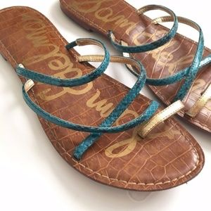 Sam Edelman Size 7.5 Blue & Gold Gillian Sandals