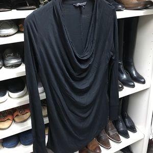 Banana republic black long sleeve drape neck Tee