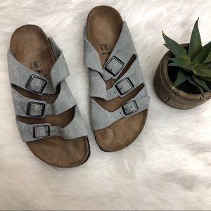 BIRKENSTOCKS Gray Suede Marseille Sandals