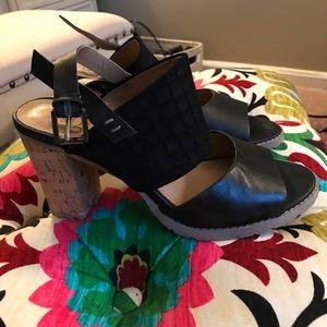 Von Black Sandal Cork Heels