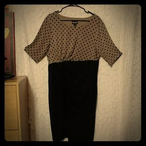 Blk & brownish taupe polka dot dress