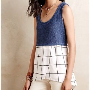 Anthropologie Tiered Gridwork Tank