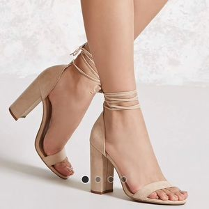 Shoes. Nude, laced ankle, chunky heal