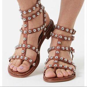 Sam Edelman Brown Studded Eavan Gladiator Sandals