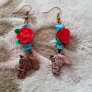 Bronze Horse & Red Rose Dangle-Style Earrings